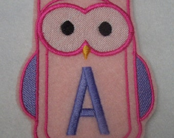 Personalized owl embroidered iron on patch