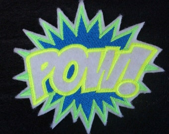 POW super hero embroidered iron on patch in bright neon shades