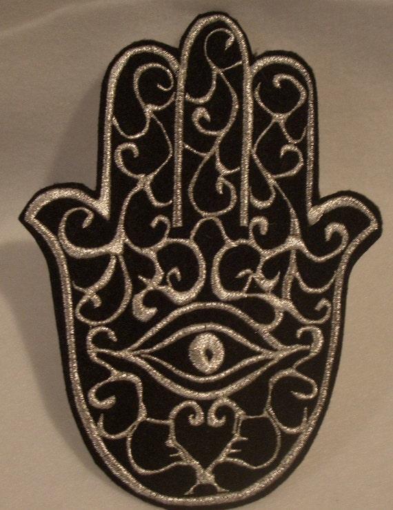 XL hamsa, chamsa, khamsa silver embroidered iron on patch