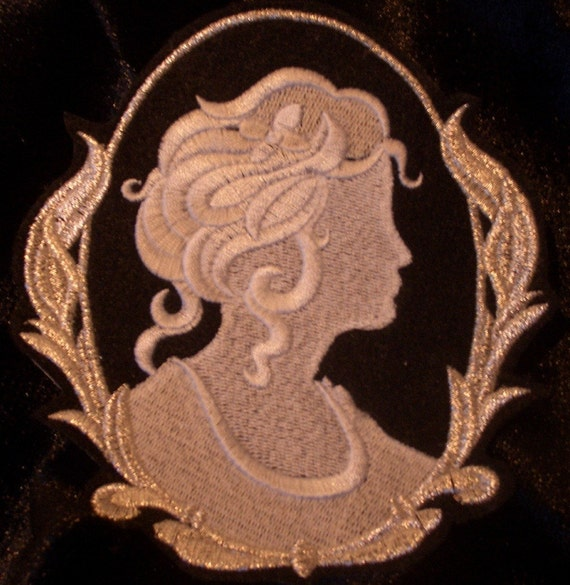 embroidered cameo iron on patch