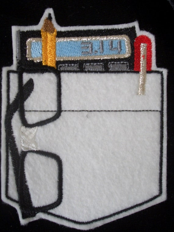 Pi calculator  pocket patch embroidered iron on patch