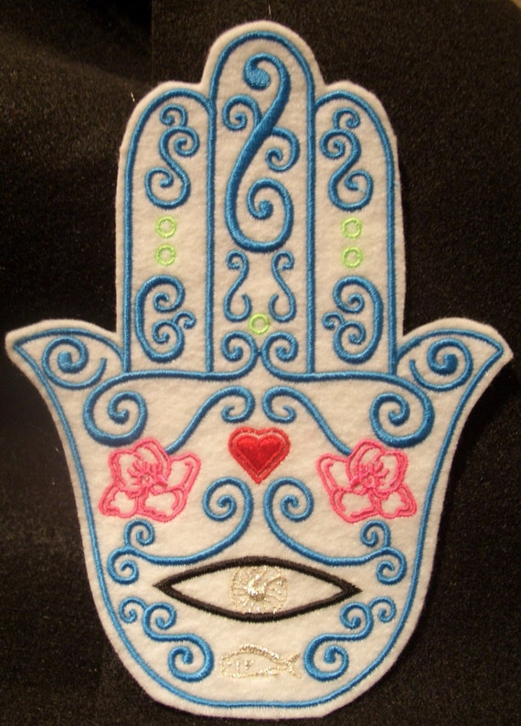 Turquoise embroidered hamsa with heart, flowers, and fish iron on patch