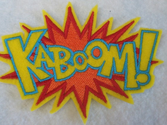 KABOOM super hero embroidered iron on patch