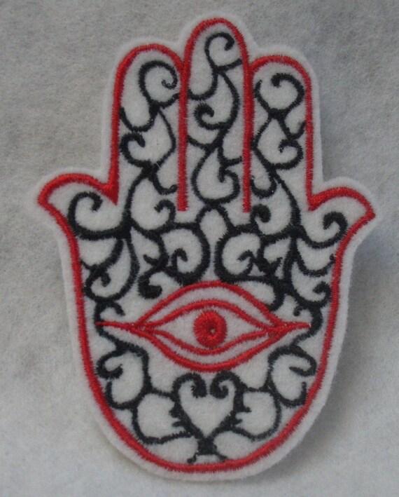 Black with red hamsa chamsa khamsa embroidered iron on patch
