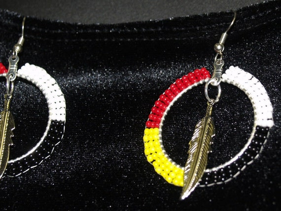 Medicine Wheel Beaded Earrings With Feather Genuine Native
