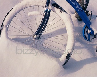 "Bicycle Photography, Blue Bike in Snow, Winter, White Blue, Hipster, Bike Art, ""Snow Day"", Fine Art Photography"