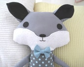 Woodland Fox Softie in Moda Hometown Fabric                         With or Without Bow Tie