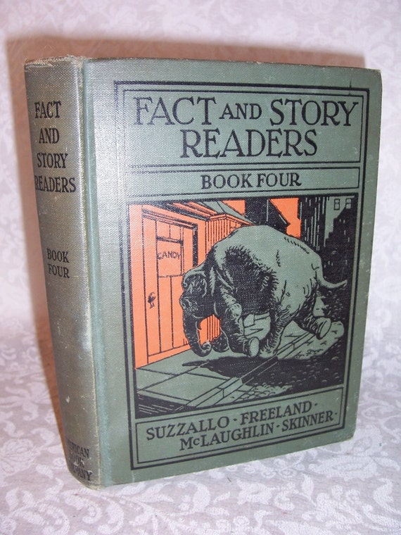 1931 Colored Illustrations FACT and STORY READERS Book Four  Very good condition  Black and White illustrations also