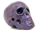 RESERVED FOR JENNY K. - purple sparkle skull home decor