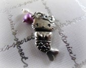 Hello Kitty Mermaid - Sterling HK mermaid charm with pearls - FREE SHIPPING