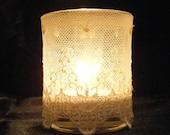 Ivory Lace Votive Candles - Set of 12