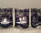 Black Lace Votive Candles - Set of 12