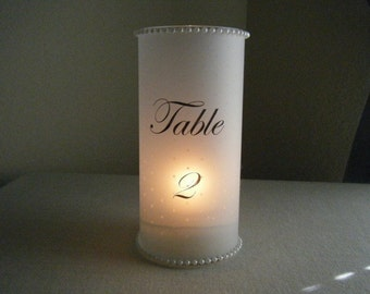 Polka Dots with Pearls Table Number Luminaries