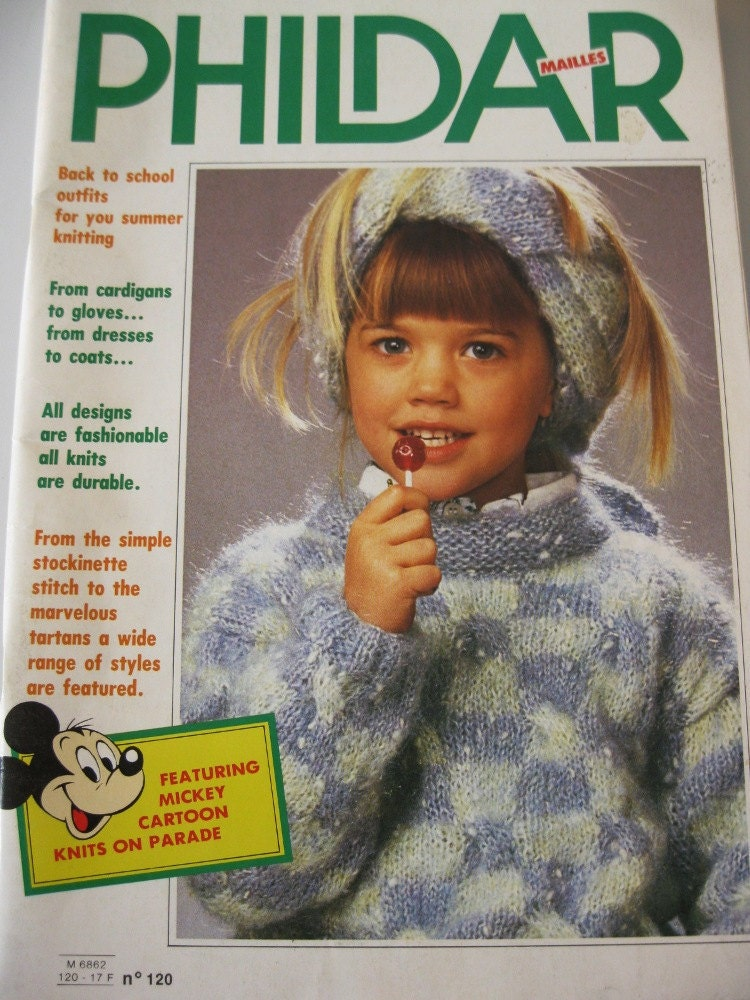 Vintage Phildar Knitting Pattern Book 1985 Mickey Mouse