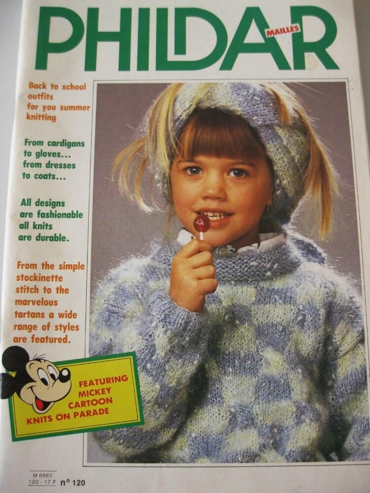 Knitting Patterns Phildar : Vintage Phildar Knitting Pattern Book 1985 Mickey Mouse