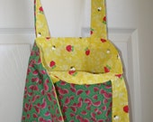 Two Reversible over the Shoulder reusable totes (great as reusable grocery bags)