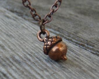 SALE - Petite Acorn Necklace - Antiqued Copper Pendant