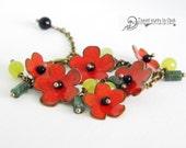 Poppyfield - enamel bracelet with gemstones