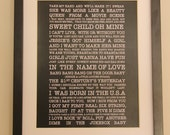 A3 80's Songs Quote Print