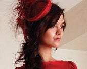 Red Sinamay Feather Cocktail hat