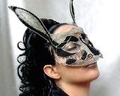 Rabbit masquerade mask, womens, halloween,costume, accessories, handmade, mardi gras