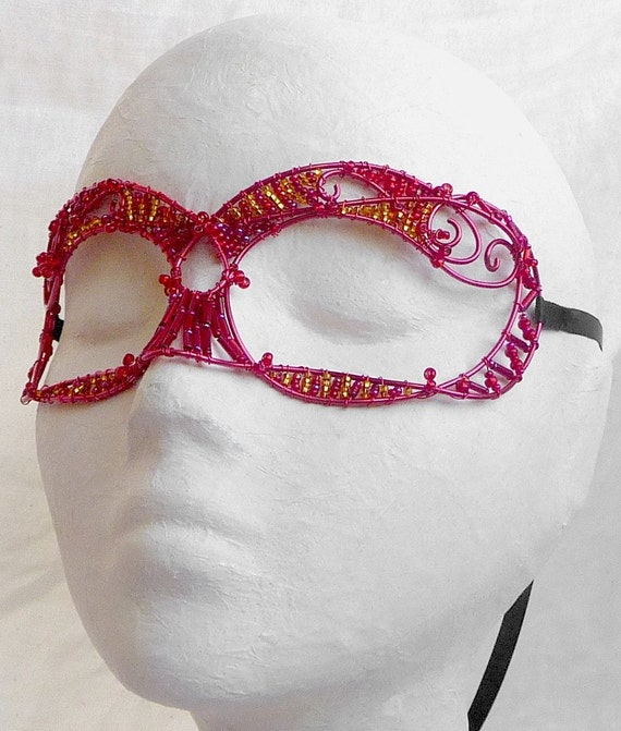 Red wire masquerade mask, womens, costume, accessories, handmade