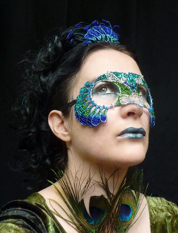 Peacock masquerade mask with crystals,  womens, costume, accessories, handmade