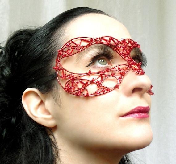 Red Venetian style masquerade mask, costume, womens, accessories, handmade
