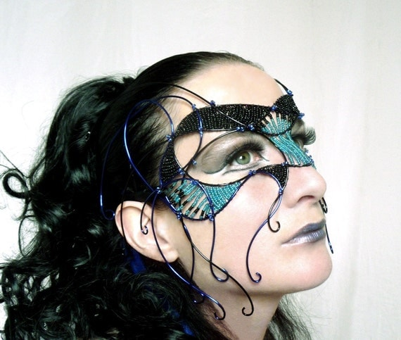 Black and blue cyber goth masquerade mask, womens, costume, accessories, handmade