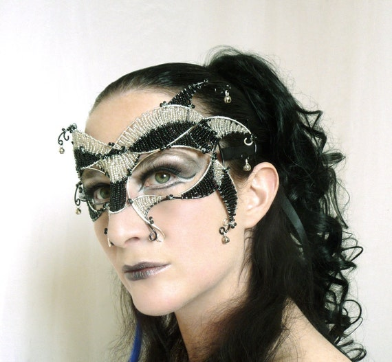 silver and black jester carnivale masquerade mask, womens, costume, accessories,handmade