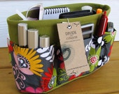 Purse ORGANIZER insert SHAPER / Cosmo Meadow Floral on Green / STURDY / 5 sizes Available / Check out my shop for more colors & styles