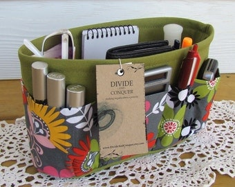 Purse Insert ORGANIZER SHAPER / Cosmo Meadow Floral On Green / STURDY / 5 sizes Available / Check out my shop for more colors & styles