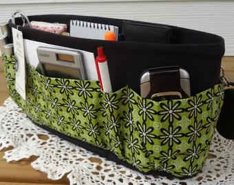 Purse ORGANIZER Insert SHAPER / Avocado On Black / STURDY / 5 Sizes available / Bag Organizer / Check out my shop for more colors & styles