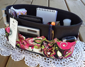 Purse Insert ORGANIZER SHAPER / Jacqueline Floral on Black / STURDY / 5 Sizes Available / Check out my shop for more colors & styles