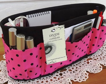 Purse ORGANIZER insert SHAPER / Hot Pink and Black Polka Dot / STURDY / 5 Sizes Available / Check out my shop for more colors & styles