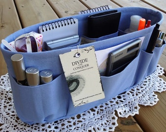 Periwinkle / Purse ORGANIZER insert SHAPER / STURDY / 5 Sizes Available / Bag Organizer / Check out my shop for more styles & colors