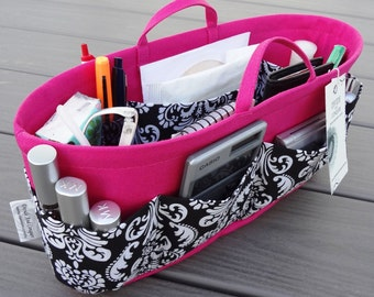 Purse Insert ORGANIZER SHAPER / With Handles and stiff wipe-clean bottom / You choose the color & size / STURDY / Bag Organizer