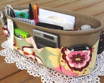 Purse ORGANIZER Insert SHAPER / Kleo Pastel On Khaki / STURDY / 5 Sizes Available / Check out my shop for more colors & styles