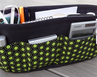 Purse ORGANIZER Insert SHAPER / Lime Dots On Black / STURDY / 5 Sizes Available / Check out my shop for more colors & styles