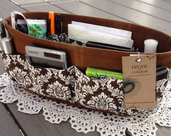 Purse ORGANIZER Insert SHAPER / Brown and Ivory Damask / 5 Sizes Available / STURDY / Check out my shop for more colors & styles