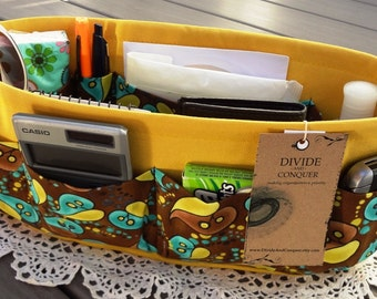 Purse ORGANIZER Insert SHAPER / Yellow Brown Aqua Print on Yellow / STURDY / 5 Sizes Available / Check out my shop for more colors & styles