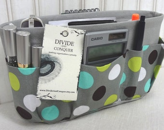 Purse ORGANIZER Insert SHAPER / Gray Polka Dot / STURDY / 5 Sizes Available / Bag Organizer / Check out my shop for more colors & styles