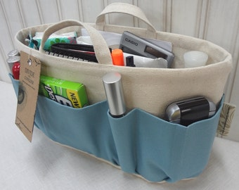 Purse Insert ORGANIZER SHAPER / With Handles / Sky Blue On Natural / STURDY / 5 Sizes Available / Check out my shop for more colors & styles