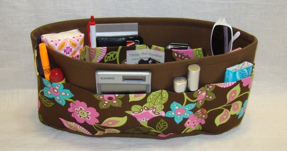 PURSE ORGANIZER INSERT WITH ENCLOSED BOTTOM / Brown Floral / 5 SIZES / Lots of pockets to keep all of your items organized / change purses in a flash/CHECK OUT MY SHOP FOR MORE COLORS AND FABRICS