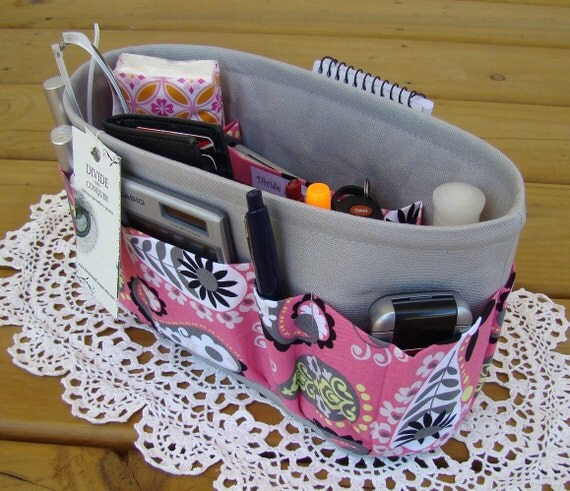 Purse Insert ORGANIZER SHAPER / Pink Paisley On Gray / STURDY / Durable / 5 Sizes Available / Check out my shop for more colors & styles