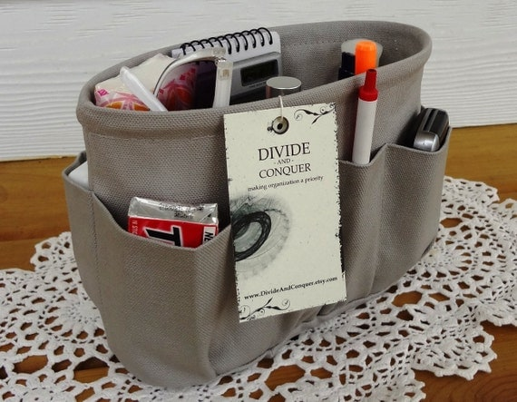 Gray / Purse insert ORGANIZER SHAPER / STURDY / 5 Sizes Available / Bag Organizer / Visit my shop for more colors & styles