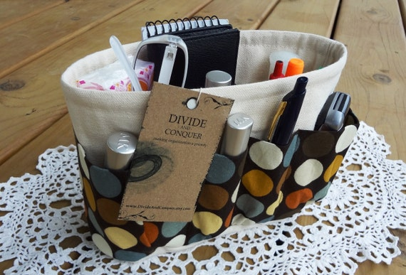 Purse ORGANIZER insert SHAPER / Polka Dots On Natural / Extra STURDY / 5 Sizes available / Bag Organiizer