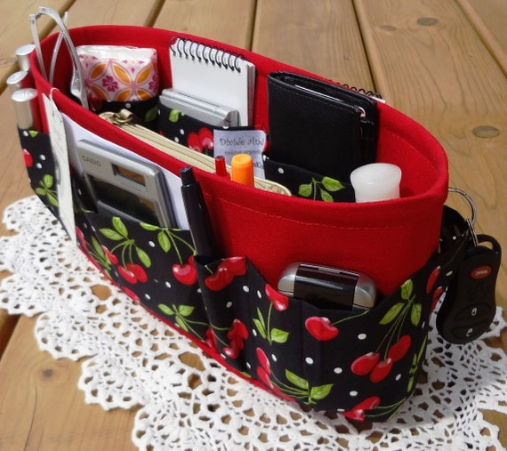 Purse ORGANIZER insert SHAPER / Enclosed bottom / Cherries / Extra STURDY / 5 Sizes Available / Check out my shop for more variety