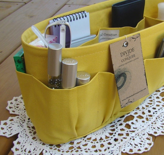 Yellow / Purse insert ORGANIZER SHAPER / Available in 5 Sizes / STURDY / Check out my shop for more colors & styles / Bag organizer