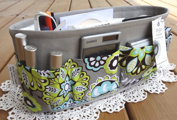 Purse ORGANIZER Insert SHAPER / Paisley Floral & Polka Dot / STURDY / 5 Sizes Available / Check out my shop for other colors and styles